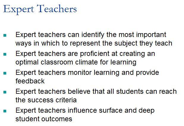 Expert Teachers