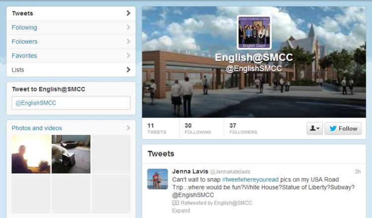 English Department Twitter