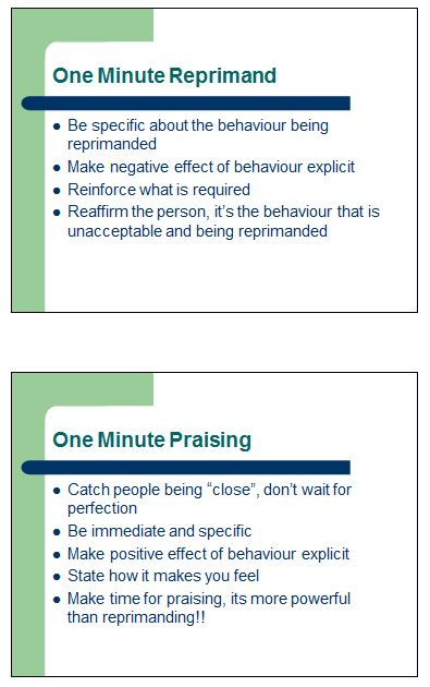 Behaviour - One Minute Reprimand & Praising