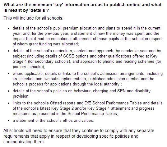 School Information Regulations