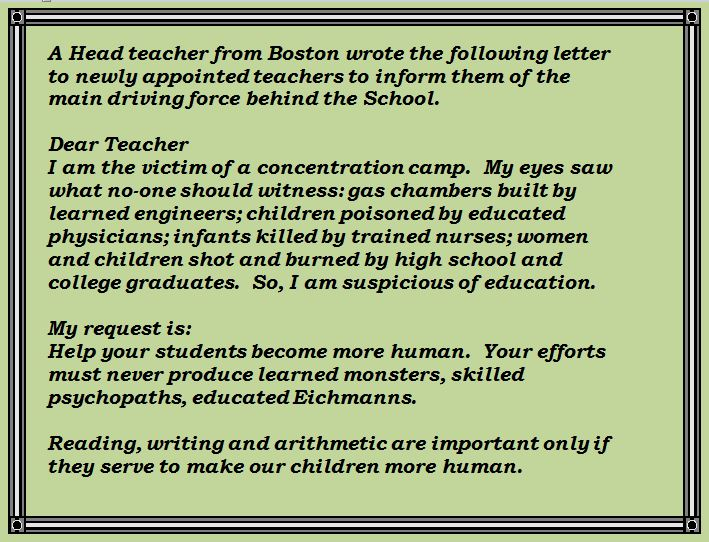 Boston Headteacher Letter to New Staff