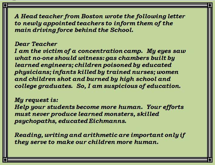 Boston Headteacher Letter to New Staff