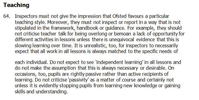 Ofsted Subsidiary Guidance p.18 & 19 - January 2014
