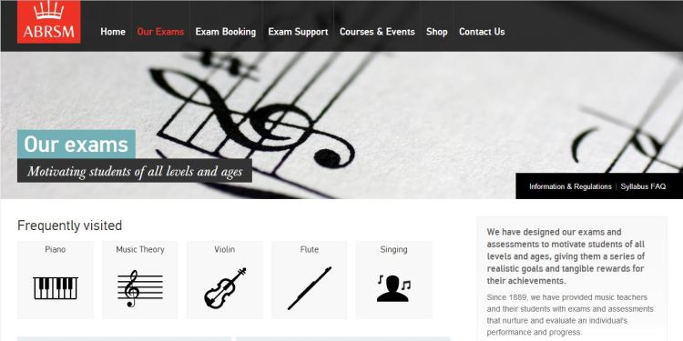 Scree Shot of ABRSM Homepage