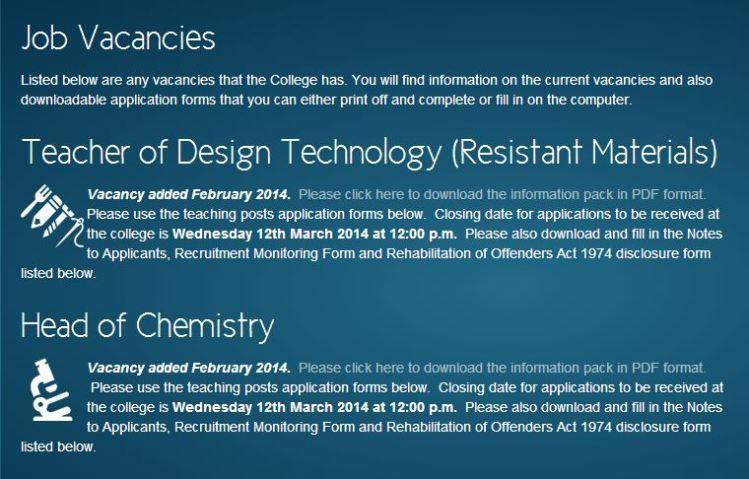 Screen Shot of Vacancies