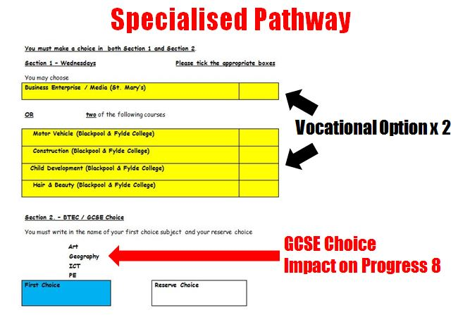 Key Stage 4 Specialised Pathway Option