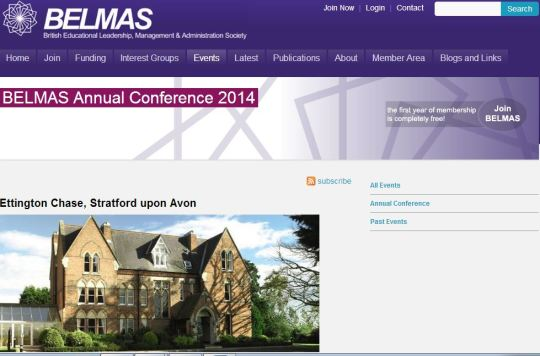 Acknowledgement: BELMAS Annual Conference Website