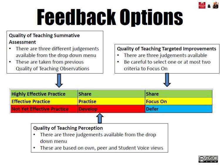 Key Feedback Options in the #FormativeLessonObs Selfy Resource by @LeadingLearner & @TeacherToolkit