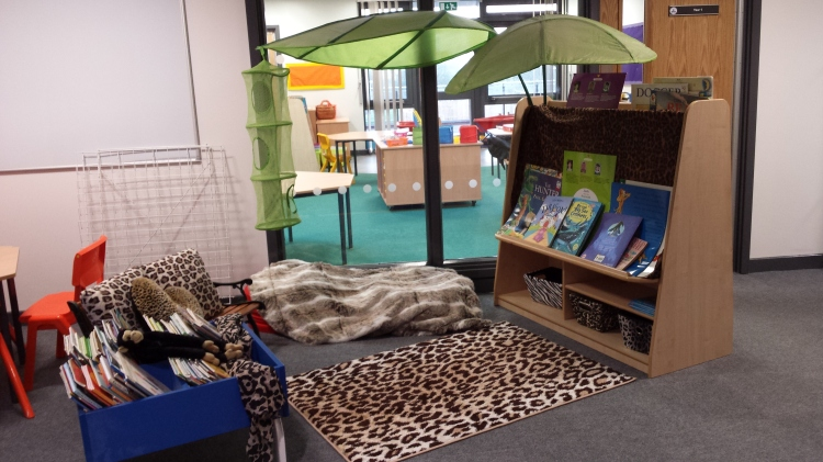 Reading area created by Miss Anne-Marie Scott.  Christ the King Catholic Academy.