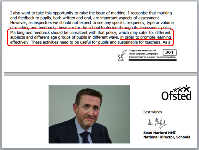 Letter from Sean Harford clarifying Ofsted's Expectations on Marking & Feedback