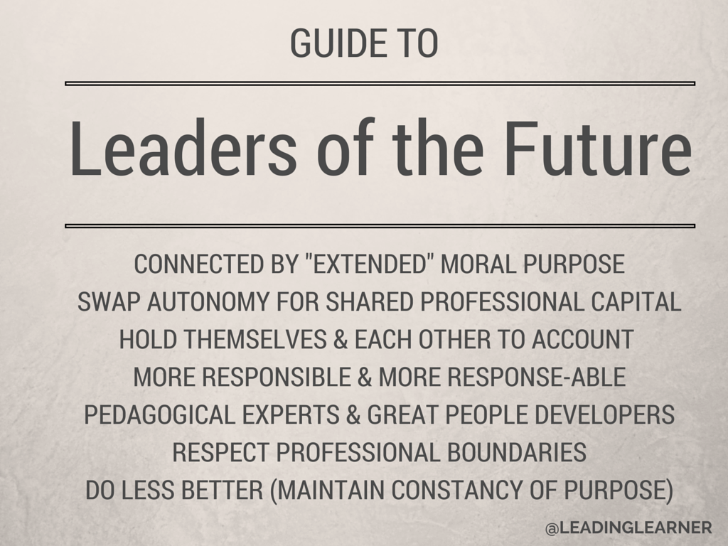 the leader of the future The leader of the future recognizes that two heads are better than one and that micro-managing and negative feedback stifle creativity, offers alessandra ceresa, marketing director at greenrope, a business marketing software provider.