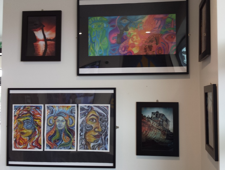 Students' Art Work on Display in St. Mary's Entrance Foyer.  Is display powerful in some subjects?