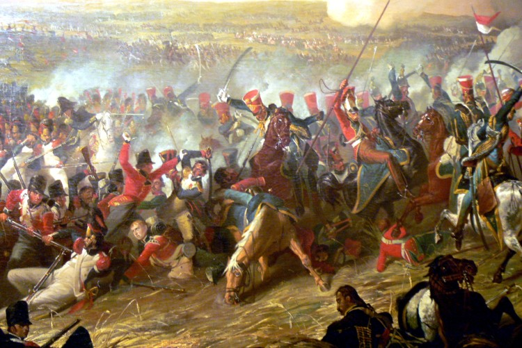 "Acknowledgement: Plas Newydd (Anglesey). ""Waterloo"" - Painting by Denis Dighton: British Hussars of Viviene's Brigade via Wikipedia"