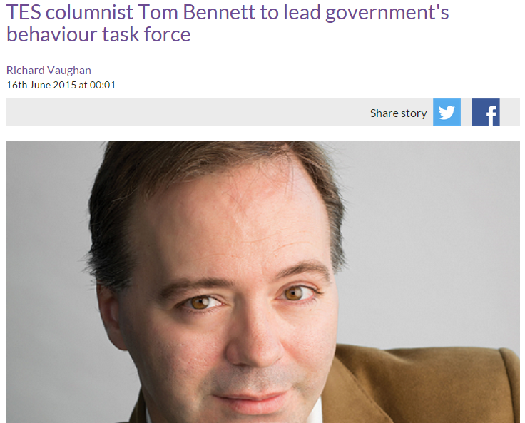Acknowledgement: TES - Tom Bennett to lead government's behaviour task force