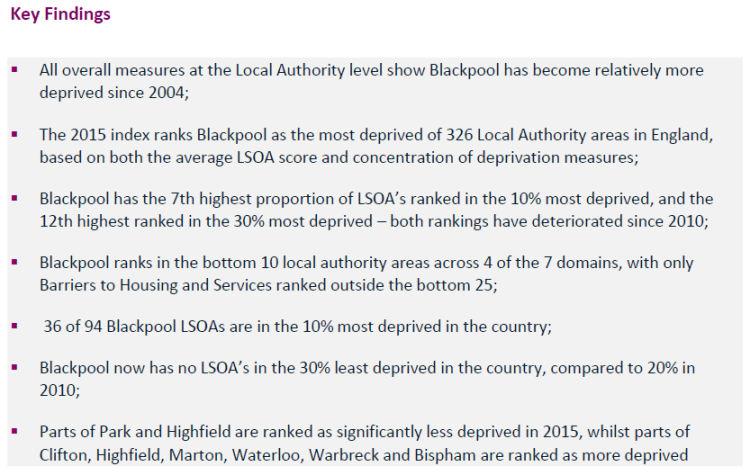Blackpool the most deprived LA in England (2015).  Resilience Matters and in Blackpool more than most places.