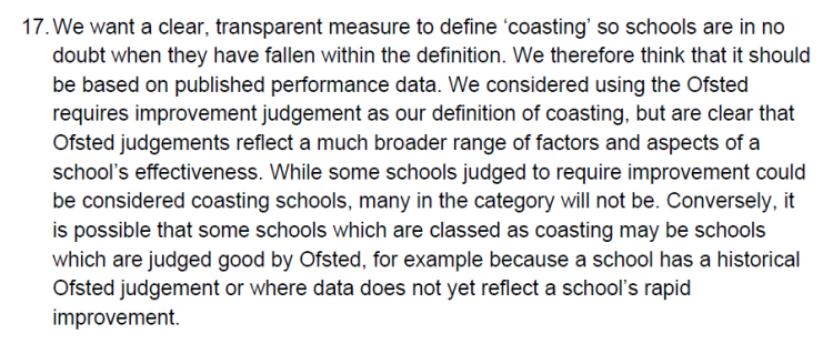 Ofsted & Coasting